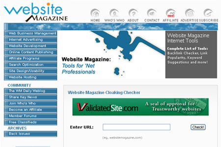 WebsiteMagazine.com - Cloaking Checker