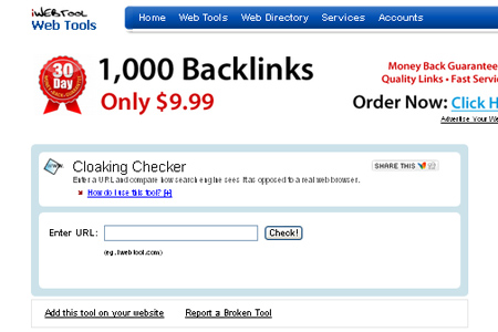 iWebTool - cloaking Checker