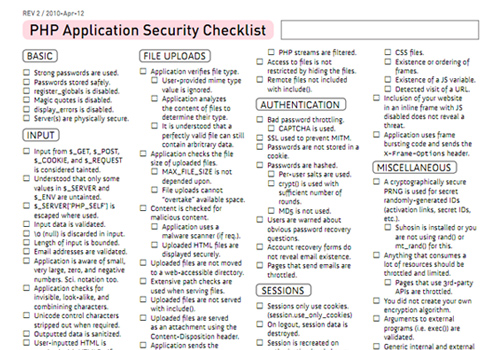 Printable PHP security checklist