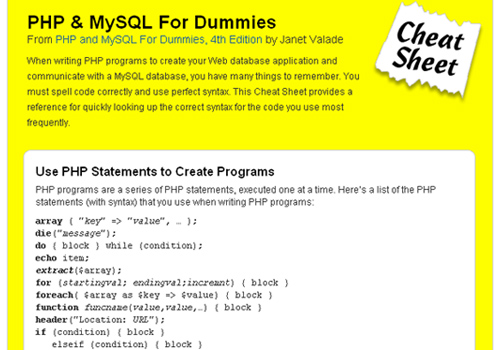 PHP & MySQL For Dummies Cheat Sheet