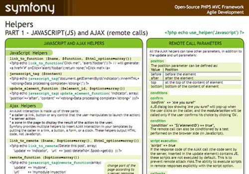 Symfony Cheat Sheet – Helpers Javascript e Ajax