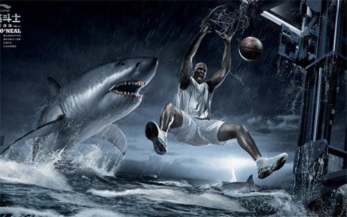 Shaq Dunks On Shark