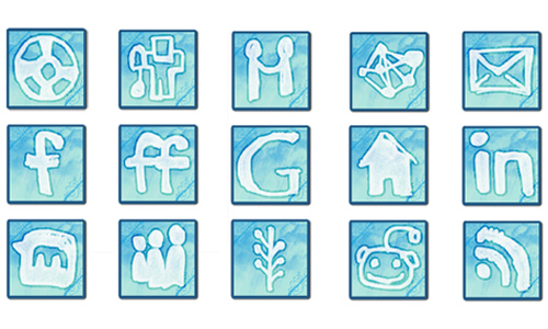 Cloudy Social Media icon set