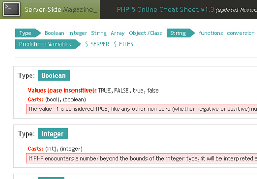 PHP 5 Online Cheat Sheet v1.3