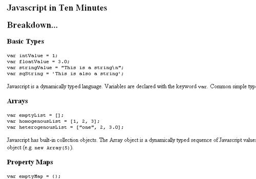 Javascript in Ten Minutes