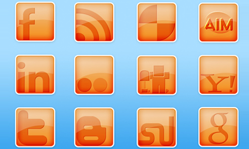 Creamsicle Social Media Icons