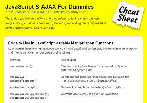 JavaScript & AJAX For Dummies Cheat Sheet
