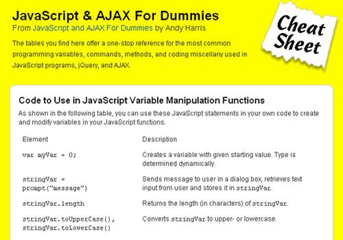 JavaScript & AJAX For Dummies Cheat Sheet