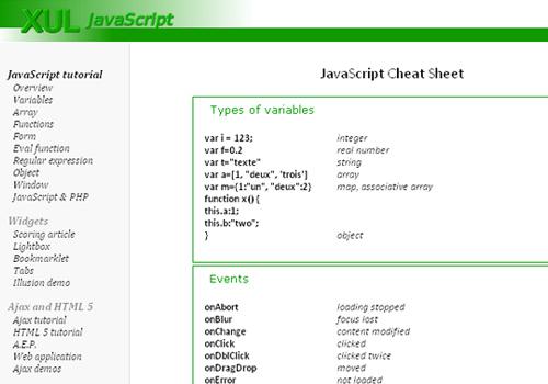 XUL JavaScript - JavaScript Cheat Sheet
