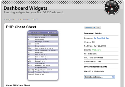 Dashboard Widgets - PHP Cheat Sheet