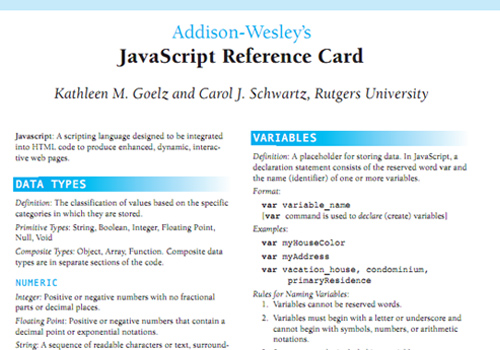 JavaScript Reference Card