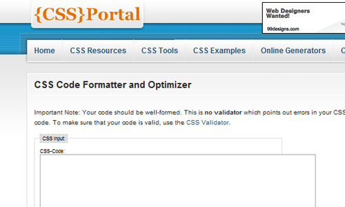 CSS Portal - CSS Code Formatter and Optimizer