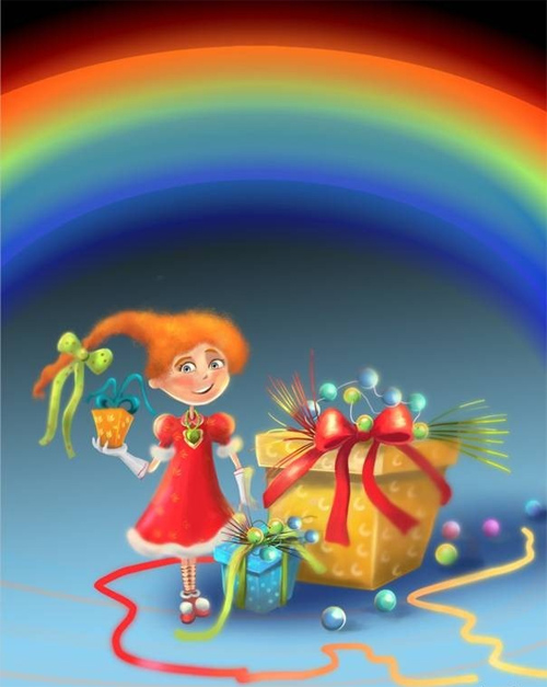 "Painting ""Girl With the Rainbow"" in Photoshop"