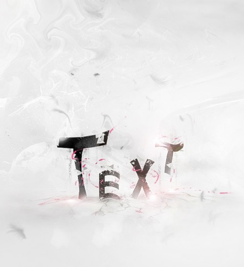Simple Abstract Text with Brushes, Cloud and Warp Tool in Photoshop