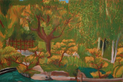 garden pastel painting
