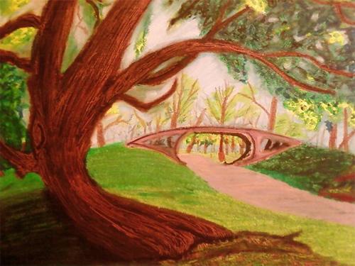 Central Park - Oil Pastel