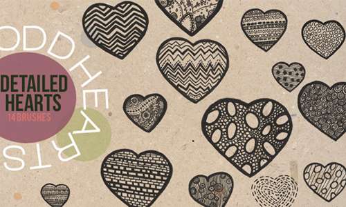 Detailed Hearts - Brushes