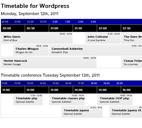 Timetable for WordPress