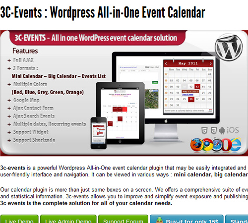 3C-Events : WordPress All-in-One Event Calendar